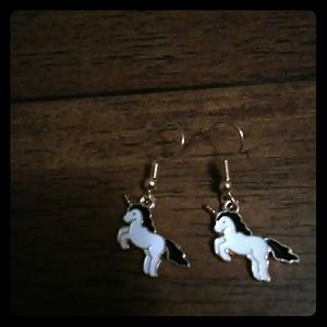 White/Blk Unicorn Earrings